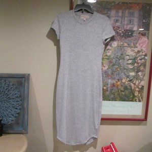 Philosophy Gray Knit Midi Short Sleeve Dress